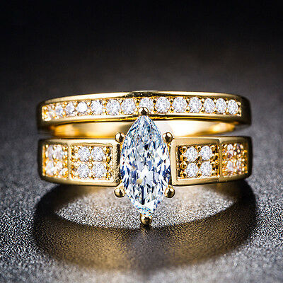 18k Yellow Gold Plated Marquise Cut White Sapphire New Wedding Ring Size 6-10