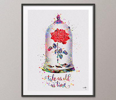 Cursed Rose Quote, Enchanted Rose, Watercolor Print, Beauty and the Beast,
