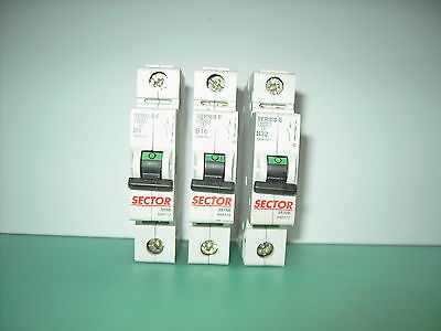 Sector MCB Circuit Breaker Fuse - (Several Sizes 6A 16A 32A)