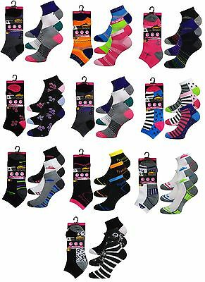 12 Pairs Ladies Trainer Sports Socks Liner Women  Girls Funky Designs Adults