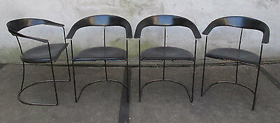 SET OF FOUR ARRBEN ITALIAN BLACK LEATHER DINING CHAIRS mid century bauhaus