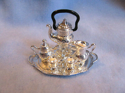 dollhouse doll house miniature ELEGANT SILVER PLATED TEA COFFEE SET 8 PIECES
