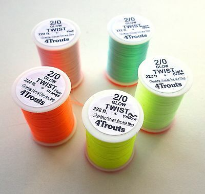 FLY TYING GLOW TWIST THREADS Set of 1, 3 or 5 colors Fly tying glow-in-dark