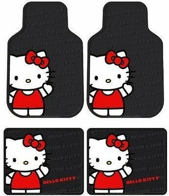 Hello Kitty Sanrio Waving Front and Rear Car Truck SUV Seat Rubber Floor Mats