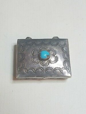 Vintage Sterling Silver Pill Box Turquoise Stone Unmarked