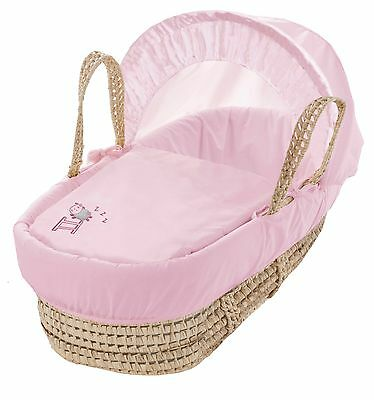 Clearance Sleepy Sheep Pink Palm Moses Basket With Padding