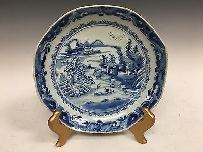 "Antique Chinese Asian 8"" Plate Porcelain Blue White Plate 19th C"