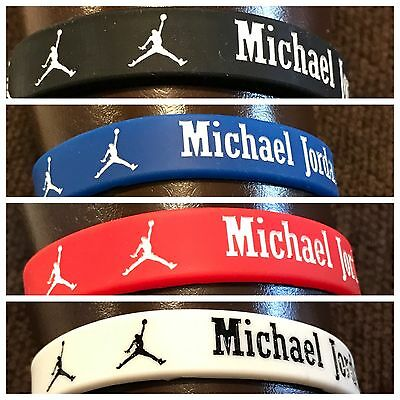 Nike Jordan Sports Silicone Wristband Bracelet Baller Band Red White Blue or Blk