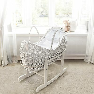 White Pod Moses Basket With Honeycomb Dressing & White Deluxe Rocking Stand