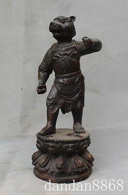 Old Chinese fengshui bronze stand lotus animal tiger king beast people statue