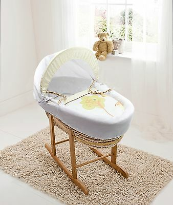 Clearance Gerry Giraffe Palm Moses Basket on Deluxe Natural Rocking Stand