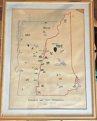 Unique Original Hand-drawn Hand Painted Color Map of New Hampshire Vermont LARGE