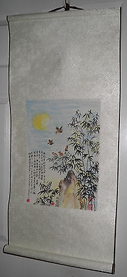 Vintage 3' ORIGINAL Asian SCROLL PAINTING Chinese Japanese Wall Art Price 2 Sell