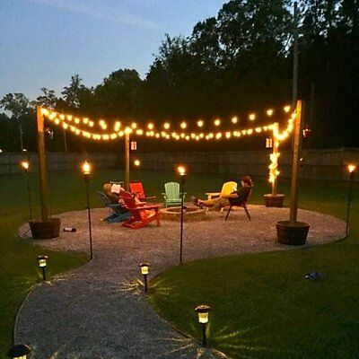 Solar String Garden Fairy Lights 50 LED Waterproof 22ft Crystal Ball Warm White