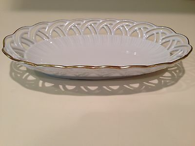 Hochst White Porcelain/Gold Trim Tray or Dish Made in Germany New