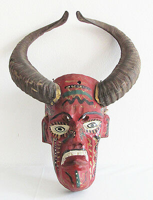 Mexican Guerrero Folk Art Wooden Devil Mask With Real Goat Horns
