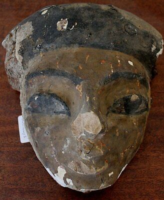Ancient Egyptian Mummy Mask Ex. Charterhouse Museum Egypt Wood Antiquity