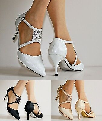 5df87adc08e2 NEW Ladies Ankle Strap Party Bridal Evening Low Mid Heel Court Shoes Size  24-401