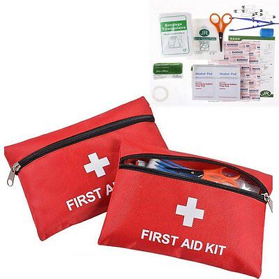 43 Pcs First 1St Aid Kit Medical Emergency Travel Home Car Work Green Bag Uk