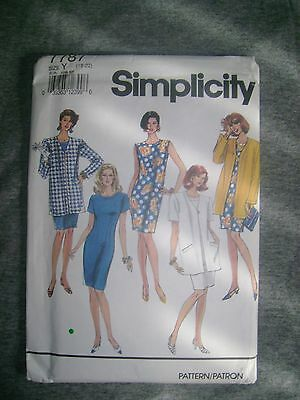 Vintage Simplicity Dress Jacket  Fabric Material Sewing Pattern Sz18-20 # 7787