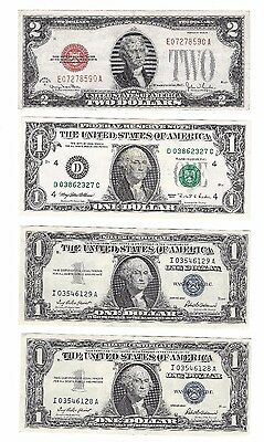 Currency Lot 1- 1928 Red Seal $2.00 /2- 1957 Blue Silver Certs /1 1995 $1.00