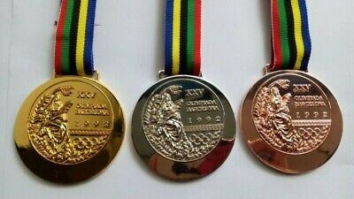 Barcelona 1992 Olympic Medals & Ribbons Set - Gold/Silver/Bronze