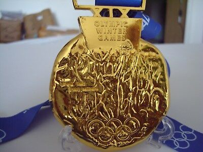 2002 Salt Lake Olympic 'Gold' Medal & Ribbons & Display Stand !!!