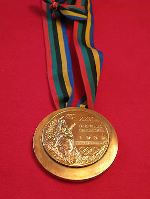 Barcelona 1992 Olympic 'Gold' Medal & Ribbons  & Display Stand !!!
