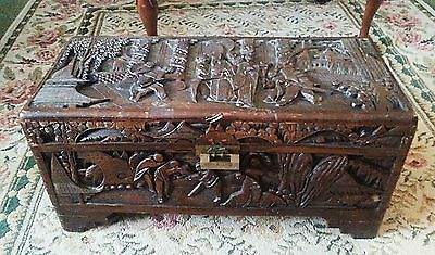 Vintage Hand Carved Chinese Art Wood Wooden Trunk/Chest/Box Unknown Antique?