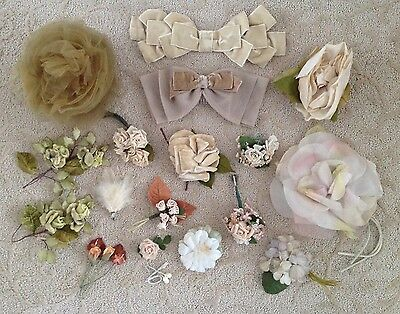 Large Lot of 1940's Vintage Millinery Flowers & Trim