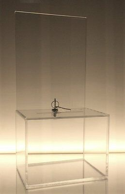 Dazzling Displays Clear Medium-Sized Acrylic Donation Box with Cam Lock and 2