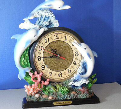 Goldenvale Collections Large Dolphin Mantle Shelf Clock