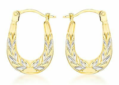 Carissima Gold 9ct 2 Colour Gold Patterned Creole Earrings