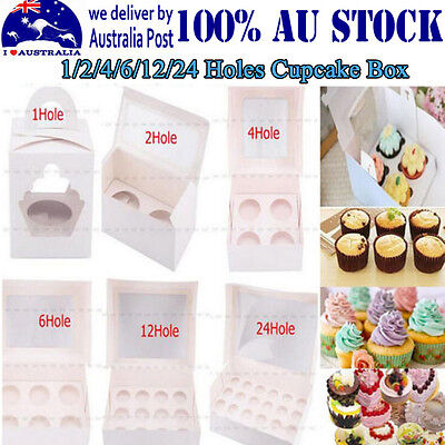 Paper Cupcake Box Range 1/2/4/6/12/24 Holes Window Face Party Baking Wedding IML