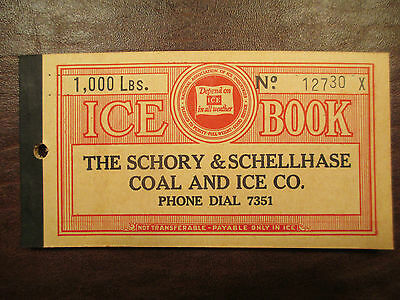 1930's 1,000 lb ICE COUPON BOOK SCHORY AND SCHELLHASE COAL AND ICE CO.