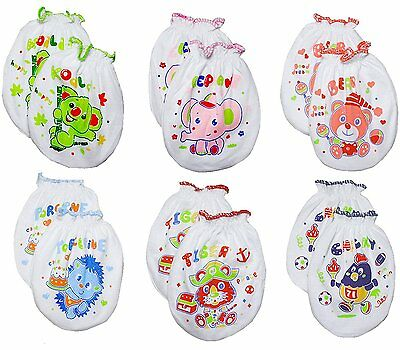 LUCKY LUCKY Baby Boys Girls Gloves,No Scratch Mittens 100%Cotton 6 Pair…