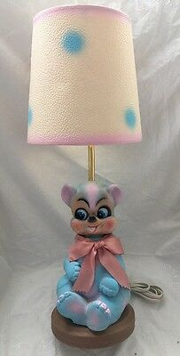 Vintage Nursery Baby Lamp PINK BLUE Rubber BEAR with POLKA DOT SHADE