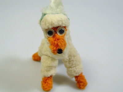 VINTAGE CHENILLE PIPE CLEANER DOG-GOOGLY EYES-German Austrian feather hat cap
