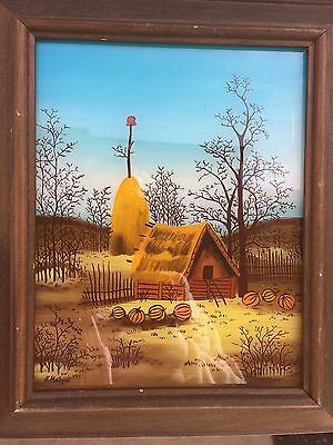 NAIVE / FOLK ART SIGNED PAINTING OIL ON GLASS signed by the Artist
