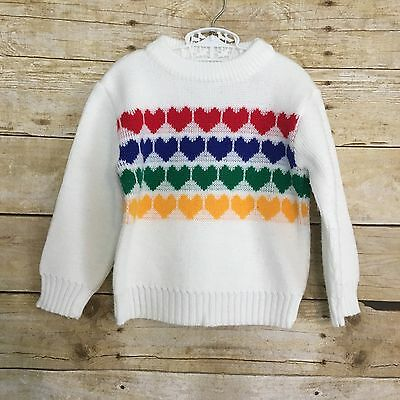 Vintage 80s Toddler Heart Sweater Kids Youth 2T Rainbow Retro Multi-Color