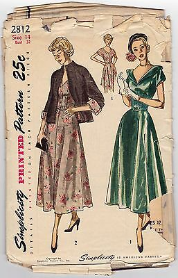 Evening Dress Jacket Sewing Pattern 1949 Simplicity 2812 Size 14 Bust 32 Vintage