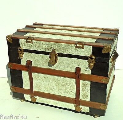 Large Vtg Antique Slightly Rounded Top Steamer Trunk Chest w/ Tray & Handles