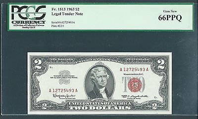 1963 $2 Legal Tender Note Gem New PCGS 66 PPQ