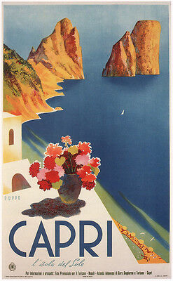 CAPRI 1952 Vintage Italian Travel Poster Rolled CANVAS ART PRINT 24x36 in.