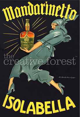 MANDARINETTO ISOLABELLA, Vintage Liquor Advertising Poster CANVAS PRINT 24x32 in