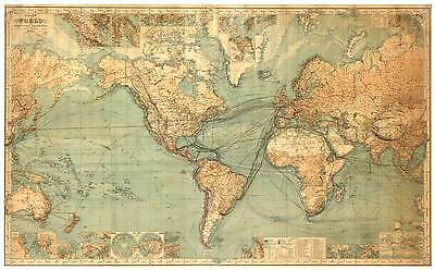 MAP OF THE WORLD Large Vintage Map Reproduction Rolled CANVAS ART PRINT 36x24 in