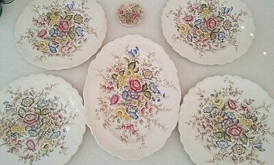 "Vintage Crown Ducal Ware "" Wilmslow"" Platter and 4 Dinner Plates + Butter Dish"