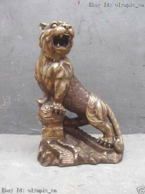 16 Inch Chinese Brass copper carved Great Wall tiger Sculpture Statue