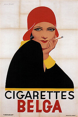 CIGARETTES BELGA, 1930 Vintage Tobacco Advertising Poster on CANVAS 24x33 in.