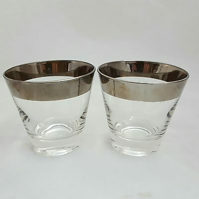 Vintage Silver Band Whiskey Glasses Cocktail Tumblers Set of 2 MidCentury Modern